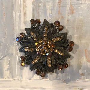 { boutique } dark silver & crystal brooch
